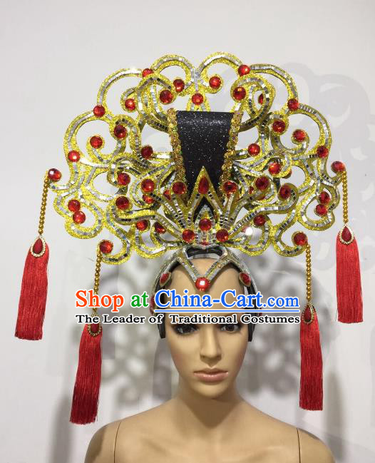 Brazilian Samba Dance Chinese Palace Queen Golden Hair Accessories Rio Carnival Roman Deluxe Headwear for Women