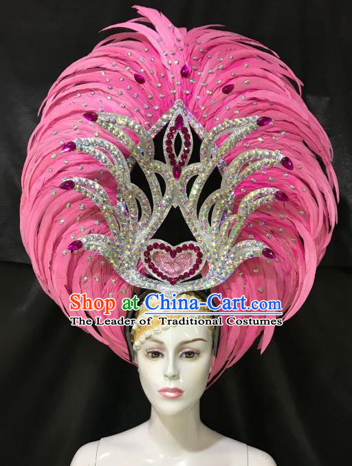 Brazilian Rio De Janeiro Carnival Pink Feather Hair Accessories Samba Dance Catwalks Headdress for Women