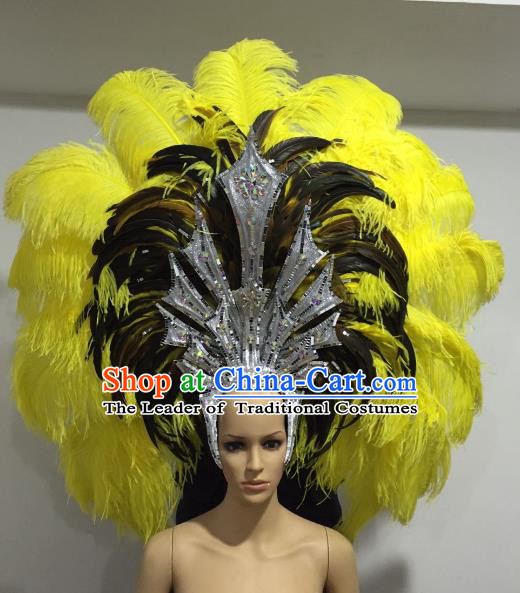 Brazilian Samba Dance Queen Hair Accessories Rio Carnival Yellow and Black Feather Deluxe Headwear for Women