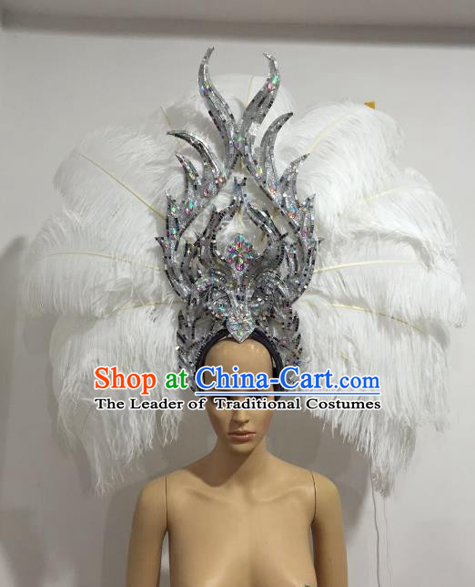 Brazilian Catwalks Hair Accessories Rio Carnival Samba Dance White Ostrich Feather Deluxe Headwear for Women