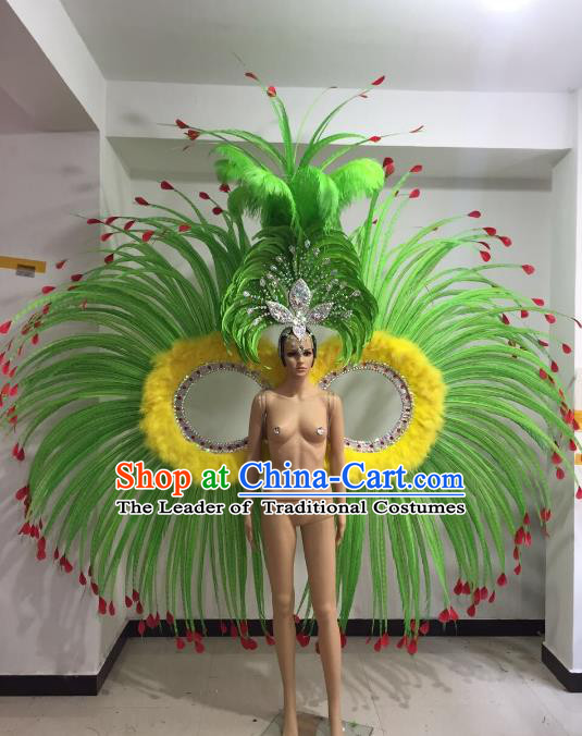 Brazilian Catwalks Props Rio Carnival Samba Dance Green Feather Wings and Headwear for Women