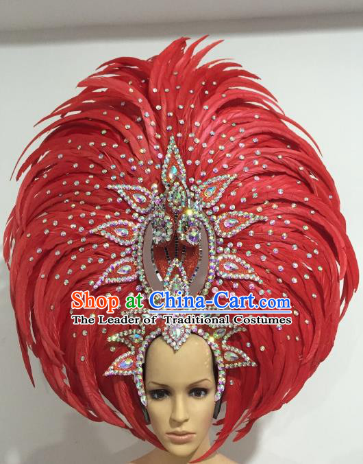 Brazilian Carnival Catwalks Hair Accessories Rio Samba Dance Red Feather Deluxe Headwear for Women