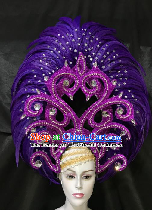 Brazilian Rio De Janeiro Carnival Purple Feather Hair Accessories Samba Dance Catwalks Headdress for Women