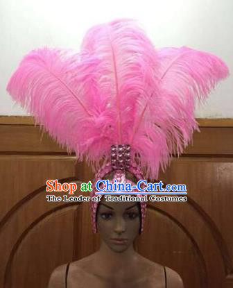 Brazilian Rio De Janeiro Carnival Pink Ostrich Feather Hair Accessories Samba Dance Catwalks Headdress for Women