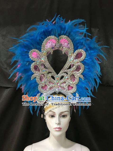 Brazilian Rio De Janeiro Carnival Blue and Pink Feather Hair