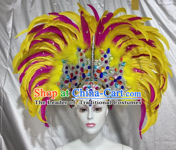 Brazilian Rio De Janeiro Carnival Yellow and Rosy Feather Hair Accessories Samba Victorian Dance Deluxe Headwear for Women