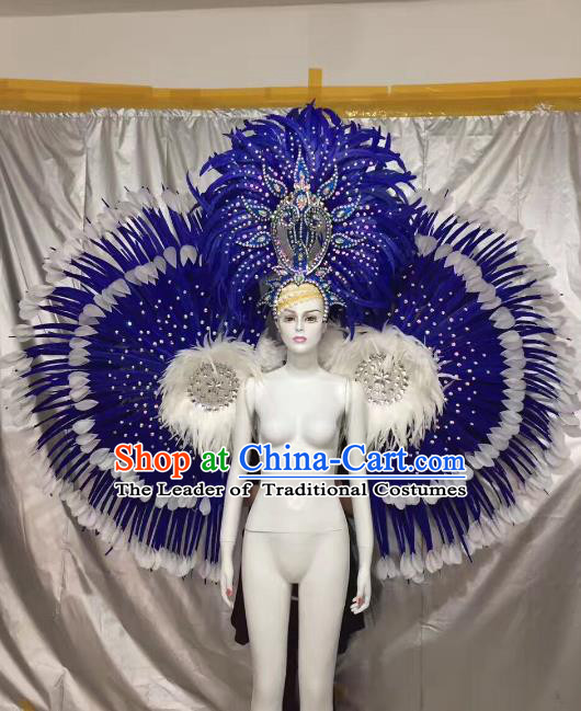 Top Grade Brazilian Carnival Samba Dance Royalblue Feather Angel Wings Catwalks Headwear for Women