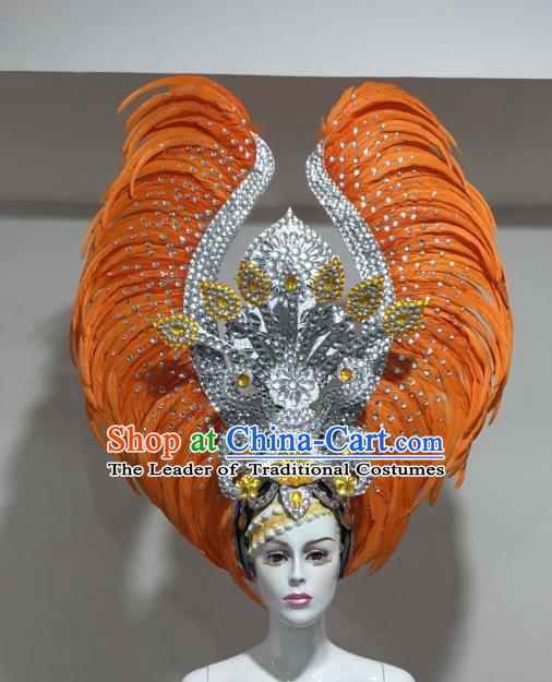 771e13e7b Brazilian Samba Dance Orange Feather Hair Accessories Rio Carnival  Victorian Dance Deluxe Headwear for Women