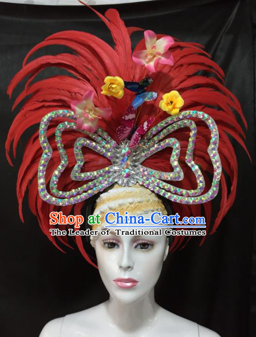 Brazilian Rio De Janeiro Carnival Red Feather Hair Accessories Samba Dance Catwalks Headwear for Kids
