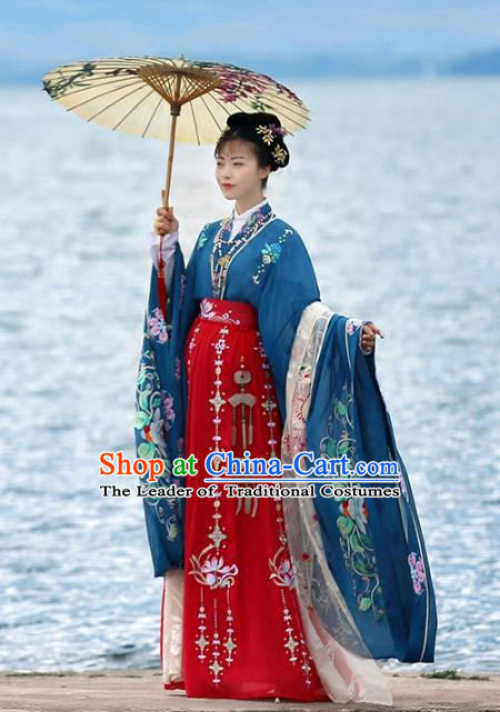 Ancient Chinese Female Embroidered Costume Tang Dynasty Empress Wedding Hanfu Dress for Rich Women