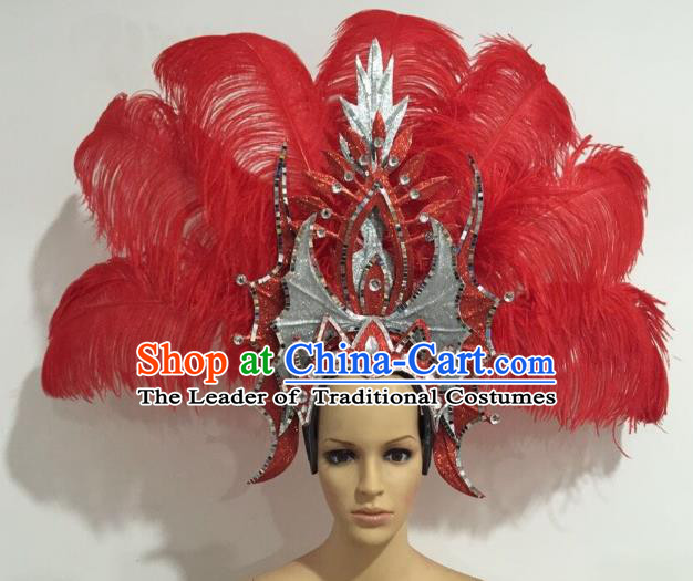 Brazilian Carnival Catwalks Red Ostrich Feather Headdress Rio Samba Dance Deluxe Hair Accessories for Women
