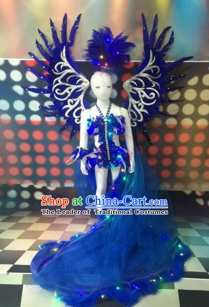 Top Grade Catwalks Costumes Brazilian Carnival Samba Dance Blue Feather Swimsuit with Wings for Kids