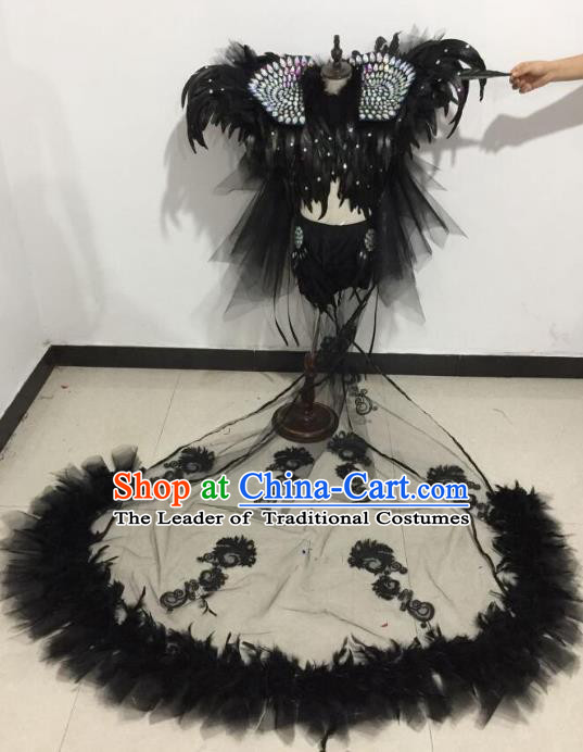 Top Grade Catwalks Costumes Brazilian Carnival Samba Dance Black Feather Swimsuit for Kids
