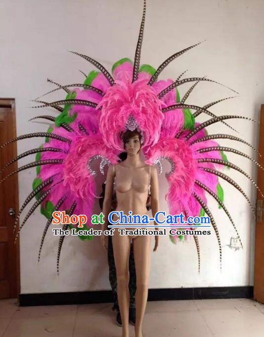 Custom-made Catwalks Props Brazilian Rio Carnival Samba Dance Pink Feather Wings and Headdress for Women