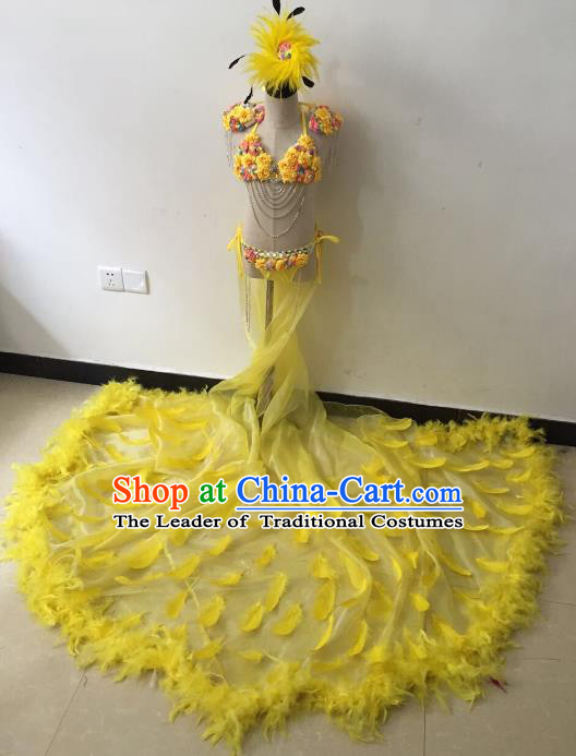 Brazilian Rio Carnival Samba Dance Costumes Catwalks Yellow Feather Trailing Swimsuit Dress for Kids