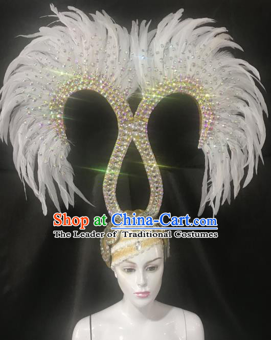 Handmade Samba Dance Catwalks Hair Accessories Brazilian Rio Carnival White Feather Headdress for Women