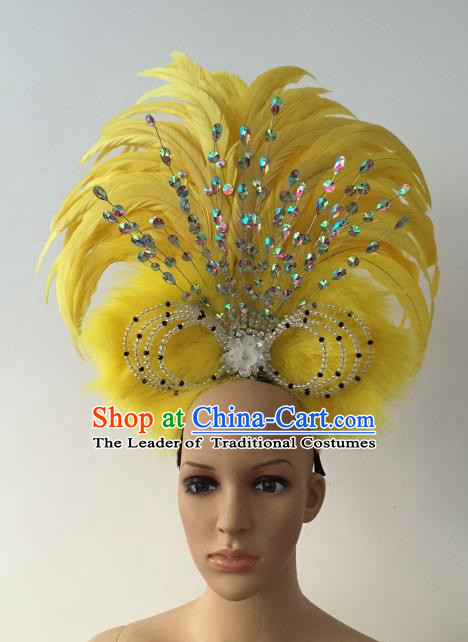 Brazilian Rio Carnival Samba Dance Yellow Feather Headdress Stage Performance Hair Accessories for Women