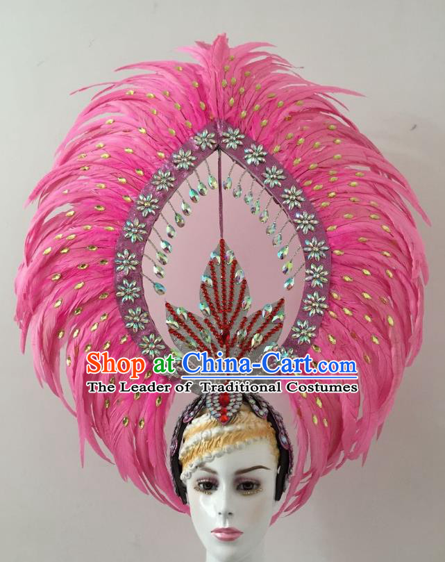 Brazilian Carnival Catwalks Pink Feather Headdress Rio Samba Dance Deluxe Diamante Hair Accessories for Women