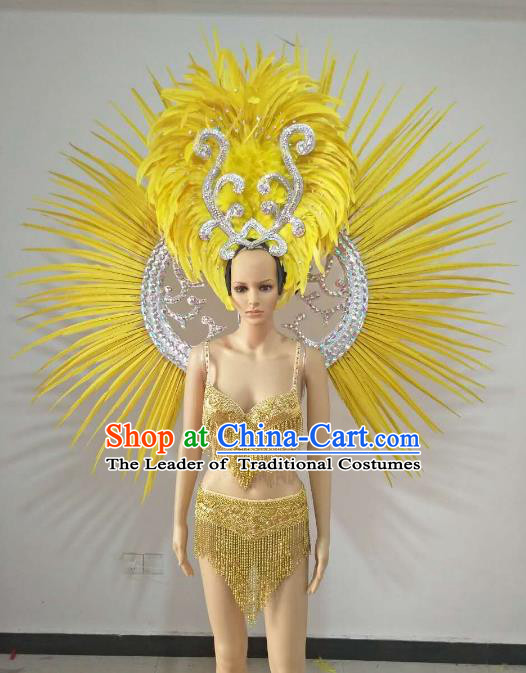6b3fe61e61983 Top Grade Catwalks Costumes Brazilian Carnival Samba Dance Yellow Feather  Swimsuit and Wings for Women