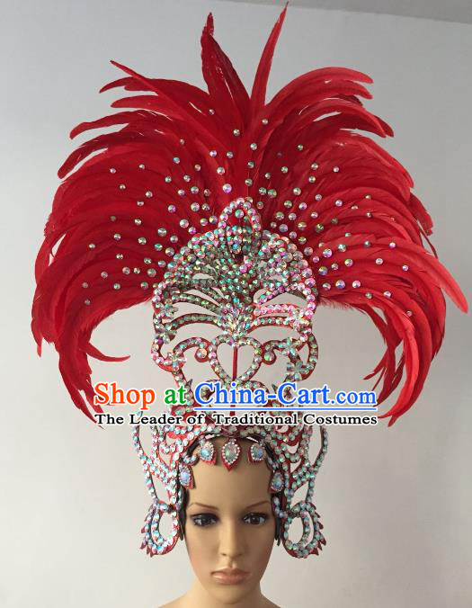Brazilian Rio Carnival Samba Dance Red Feather Deluxe Headdress Hair Accessories for Women