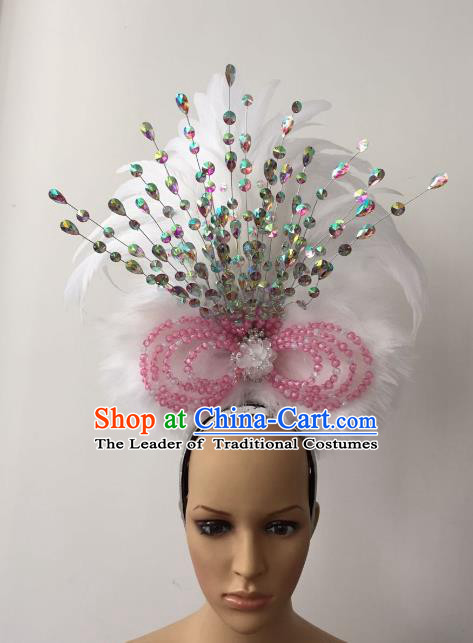 Brazilian Rio Carnival Samba Dance White Feather Deluxe Headdress Stage Performance Hair Accessories for Women