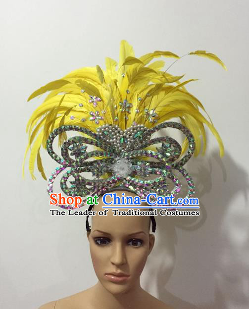 Brazilian Rio Carnival Samba Dance Yellow Feather Deluxe Headdress Stage Performance Hair Accessories for Women