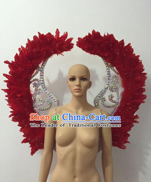 Brazilian Rio Carnival Samba Dance Props Catwalks Red Feather Wings for Adults