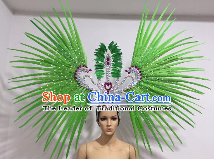 Brazilian Carnival Rio Samba Dance Green Feather Headdress Miami Catwalks Deluxe Hair Accessories for Women