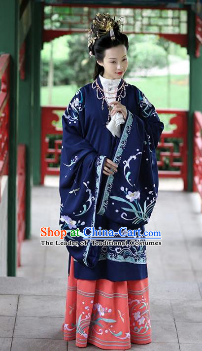Chinese Ancient Palace Lady Navy Hanfu Dress Ming Dynasty Imperial Consort Embroidered Costumes and Hair Accessories for Women