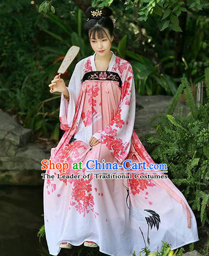 Chinese Ancient Peri Printing Hanfu Dress Tang Dynasty Princess Costumes for Women