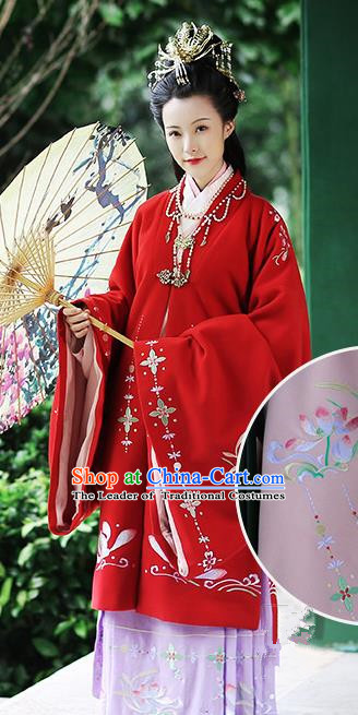 Chinese Ancient Palace Lady Red Hanfu Dress Ming Dynasty Imperial Consort Embroidered Costumes and Hair Jewelry Accessories for Women