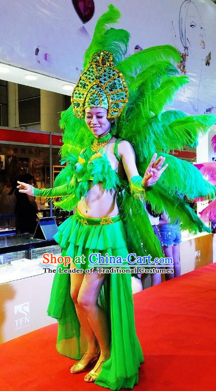 Brazilian Rio Carnival Samba Dance Costumes Catwalks Green