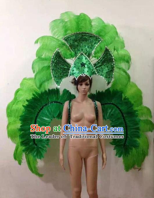 Customized Halloween Catwalks Props Brazilian Rio Carnival Samba Dance Green Feather Deluxe Wings and Headwear for Women