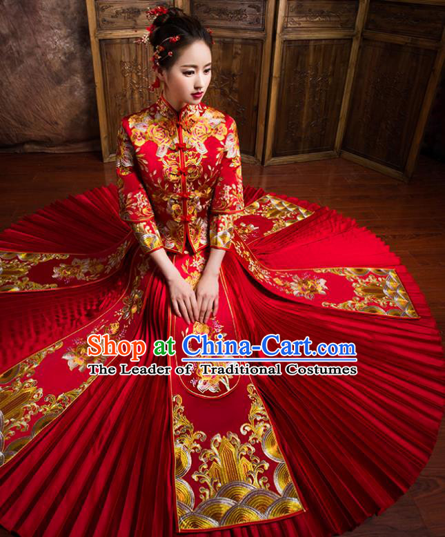 Traditional Chinese Bridal Costumes Ancient Bride Wedding Embroidered Peony Red XiuHe Suit for Women