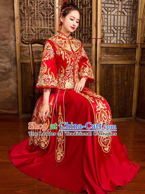 Traditional Chinese Bridal Costumes Ancient Bride Wedding Embroidered Red XiuHe Suit for Women