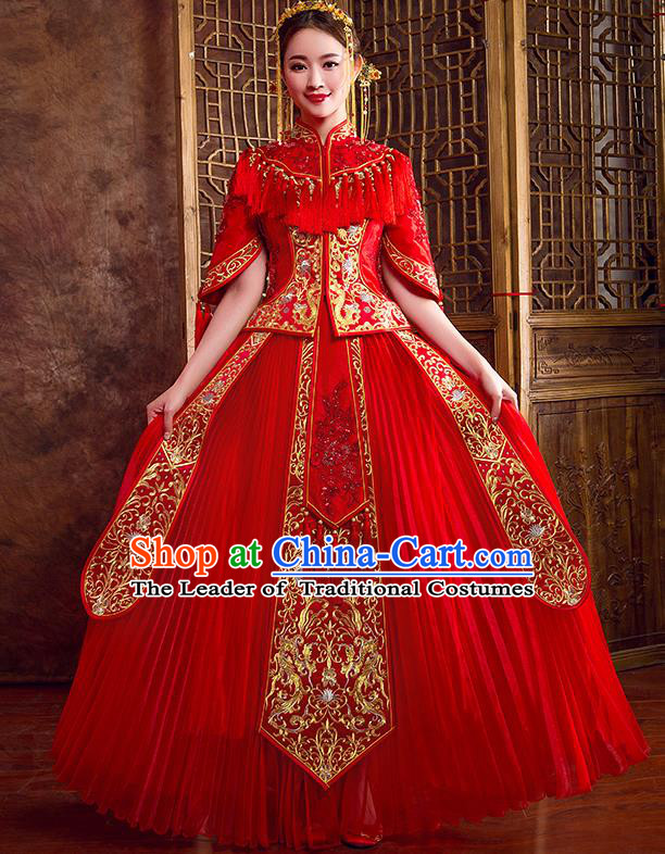 Traditional Chinese Wedding Bridal Costumes Ancient Bride Red Embroidered Full Dress XiuHe Suit for Women