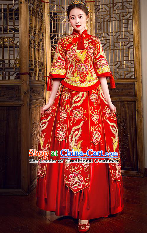 Traditional Chinese Female Wedding Costumes Ancient Embroidered Phoenix Peony Full Dress Red XiuHe Suit for Bride