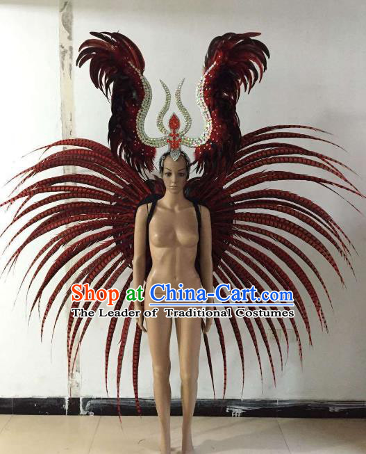 Halloween Catwalks Customized Props Brazilian Rio Carnival Samba Dance Ostrich Feather Wings and Headwear for Women
