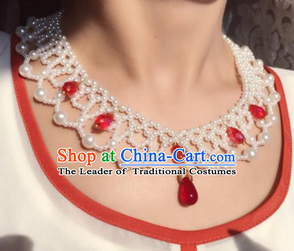 Handmade Chinese Traditional Accessories Hanfu Pearls Necklace Conophytum Pucillum for Women