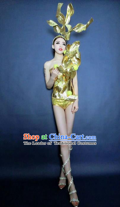 Top Grade Catwalks Golden Costume Halloween Stage Performance Brazilian Carnival Clothing for Women