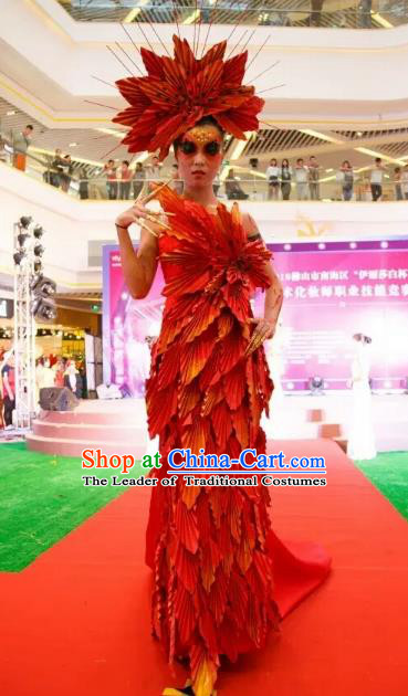 Top Grade Catwalks Costume Halloween Stage Performance Maple Leaf Dress Brazilian Carnival Clothing for Women