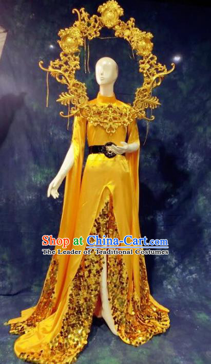 Top Grade Catwalks Yellow Full Dress Costume Stage Performance Model Show Brazilian Carnival Clothing for Women
