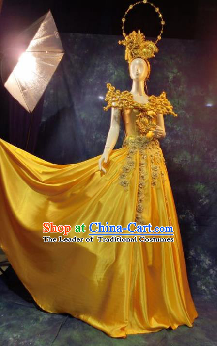 Top Grade Catwalks Golden Costume Yellow Dress Stage Performance Model Show Brazilian Carnival Clothing for Women