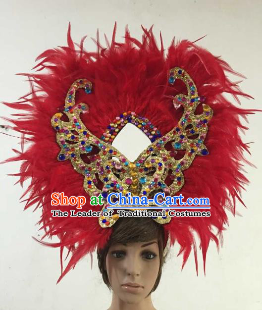 Professional Halloween Catwalks Hair Accessories Brazilian Rio Carnival Samba Dance Red Feather Headwear for Women