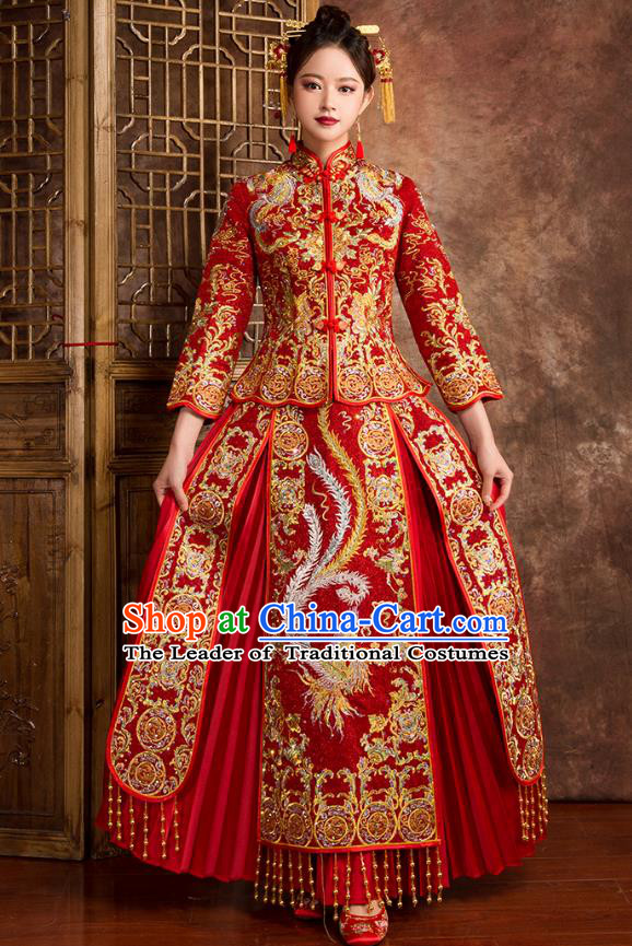 Chinese Traditional Wedding Costumes Ancient Bride Embroidered Phoenix Peony Diamante Red Xiuhe Suit for Women