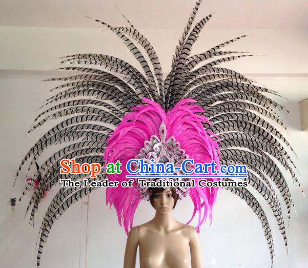 Professional Halloween Catwalks Hair Accessories Brazilian Rio Carnival Samba Dance Deluxe Pink Feather Headwear for Women