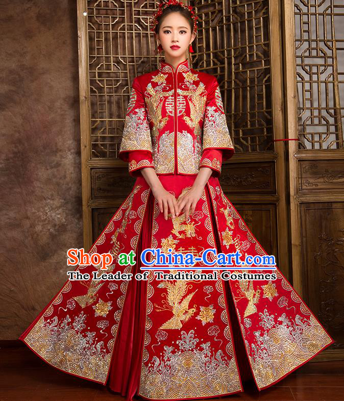 Traditional Chinese Bridal Costumes Ancient Bride Wedding Embroidered Dragon Phoenix XiuHe Suit for Women