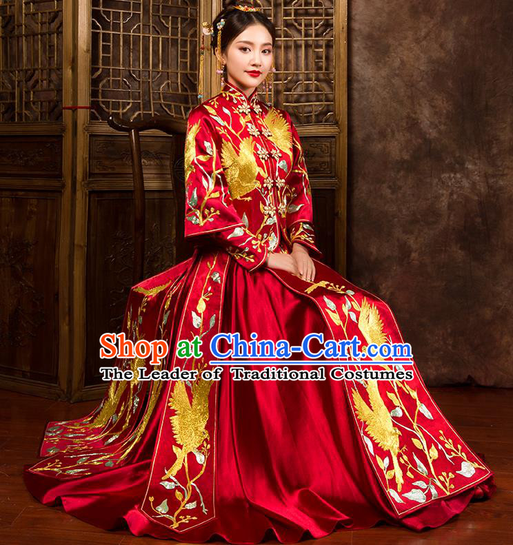 Traditional Chinese Bridal Costumes Ancient Bride Wedding Embroidered Birds  XiuHe Suit for Women 3e8289575