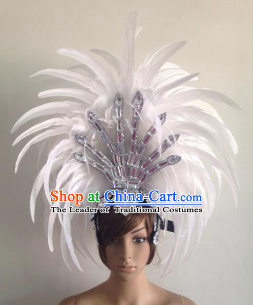 Professional Halloween Catwalks Hair Accessories Brazilian Rio Carnival Samba Dance Deluxe White Feather Headwear for Women