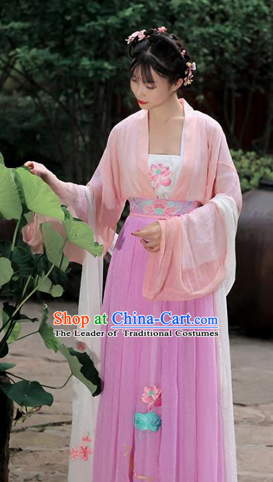 Traditional Chinese Ancient Peri Hanfu Dress Tang Dynasty Princess Embroidered Lotus Costumes for Women